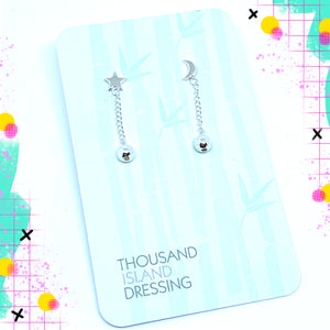 TID Sterling Silver moon & star duo drops