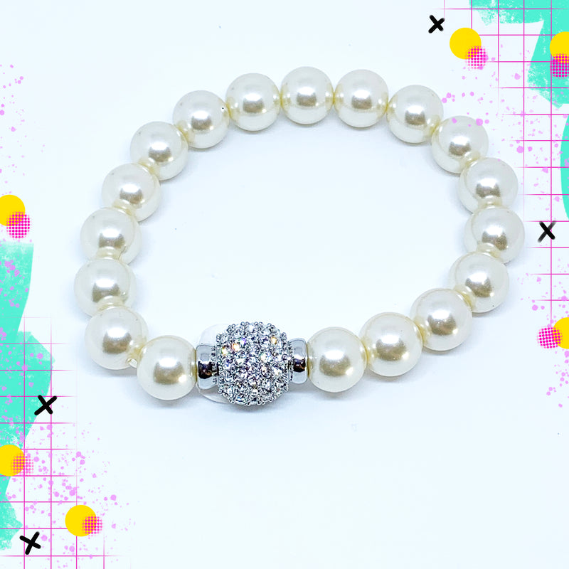 TID glass pearl and diamanté bracelet