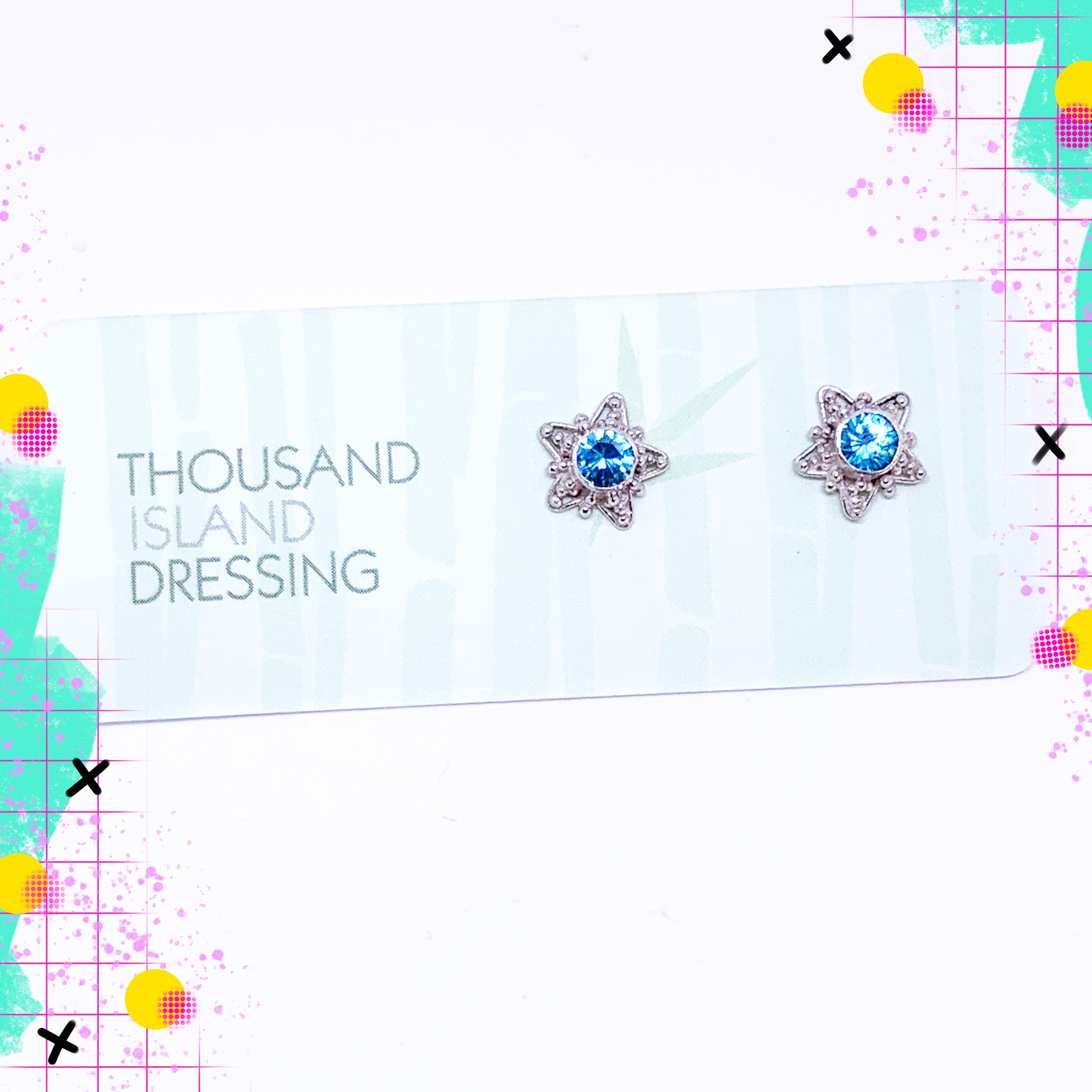 TID Sterling Silver star and blue crystal studs