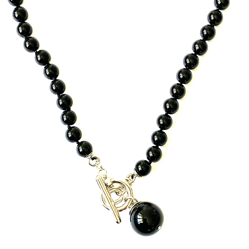 TID Black bead and fob necklace
