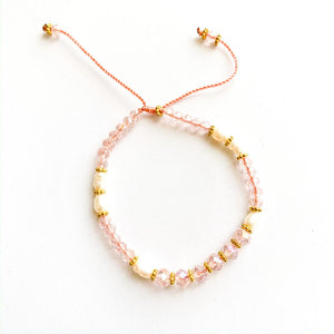 TID BEACH crystal bracelet with freshwater pearls | clear pink