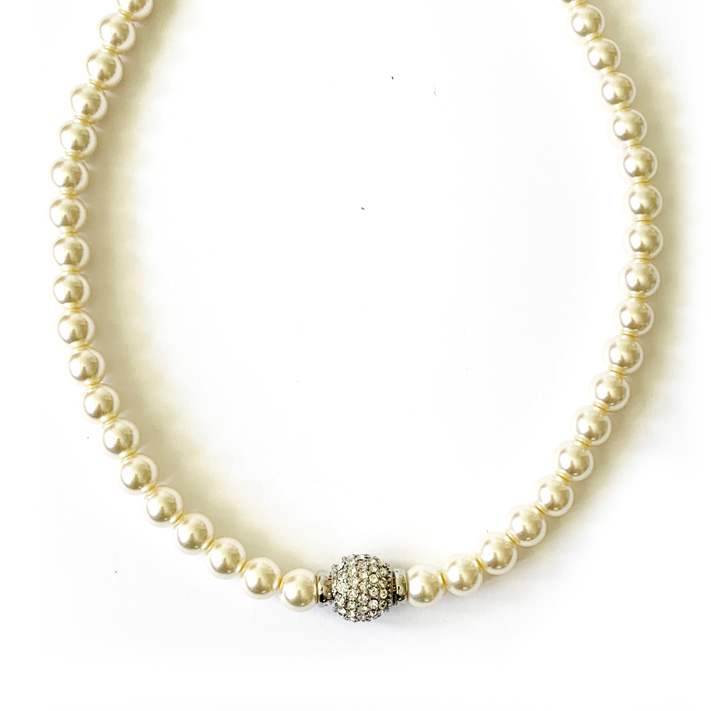 TID glass pearl and diamanté Necklace