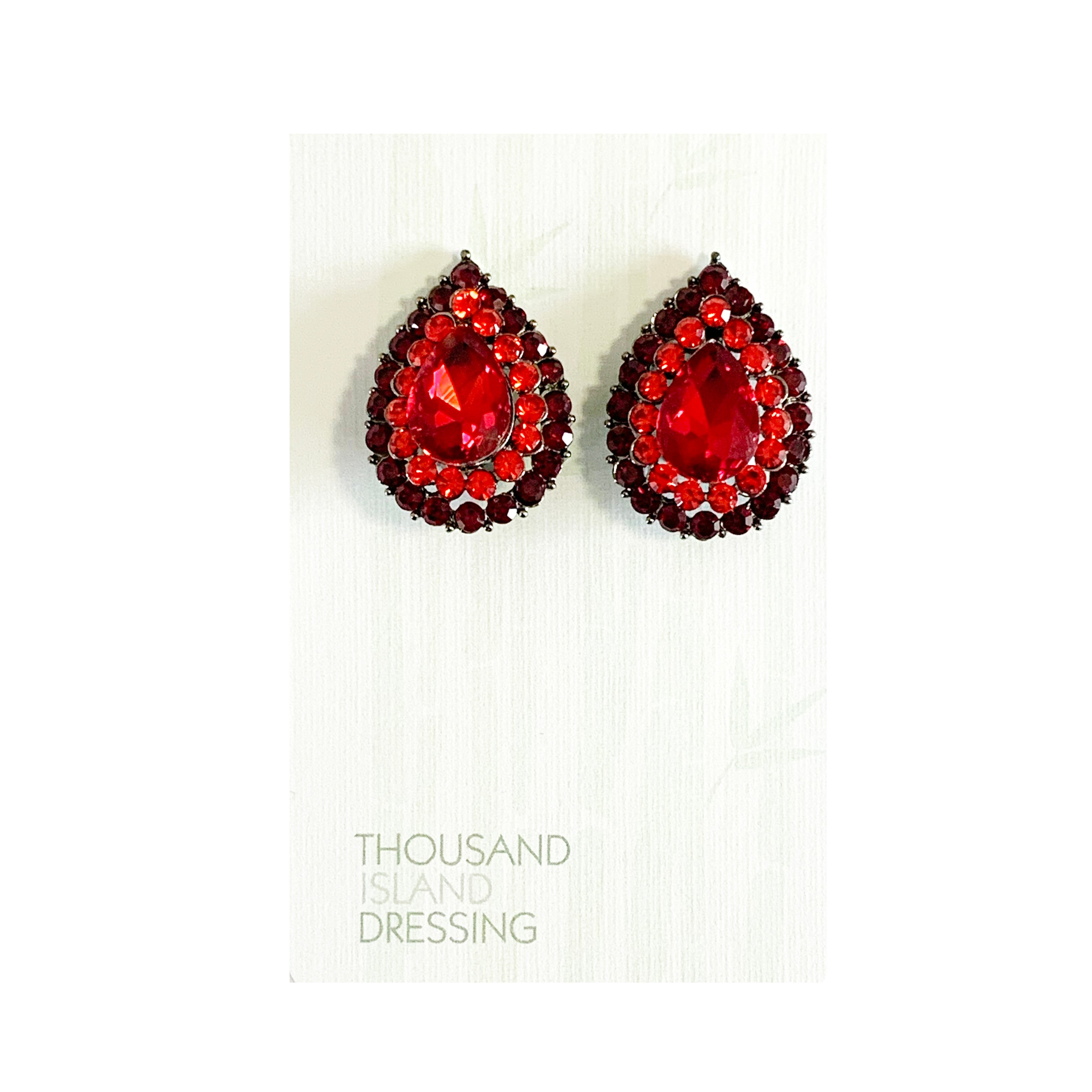 CLIP ON | TID Crystal teardrops | red