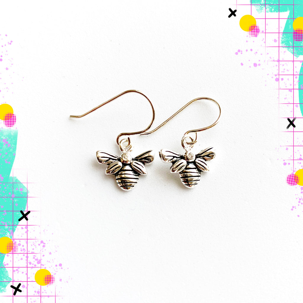 TID sterling silver bee dangles