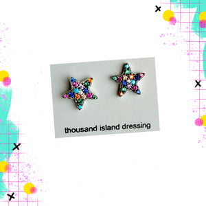 TID multi crystal star studs