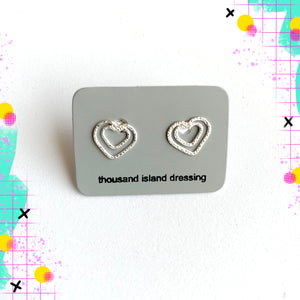TID sterling silver double heart studs