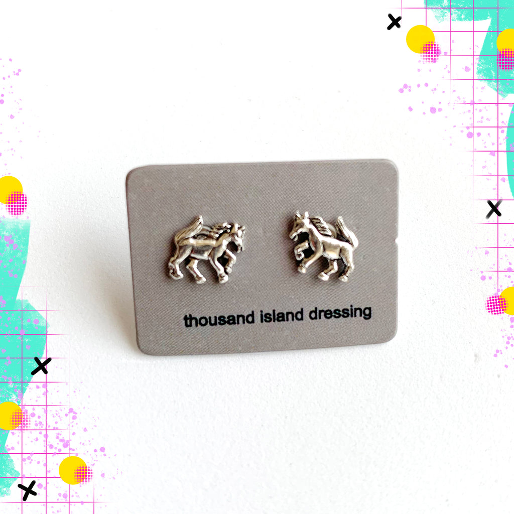 TID sterling silver horse studs