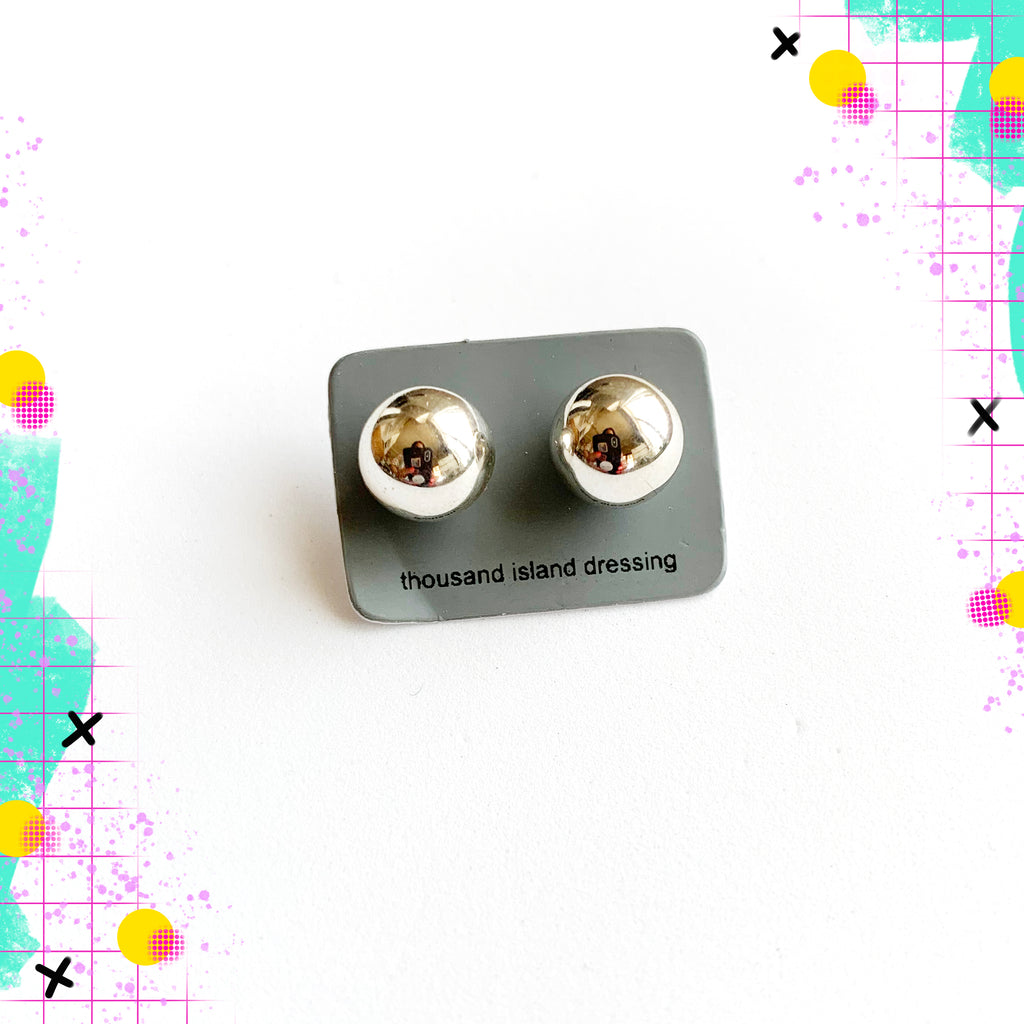 TID sterling silver ball studs - lge