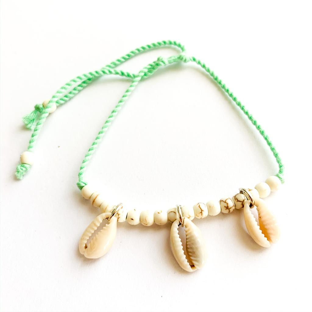 TID BEACH Hanging Shell bracelet | green