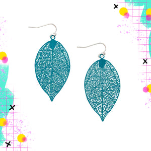 Tiger Tree Metal Leaf dangle | Teal