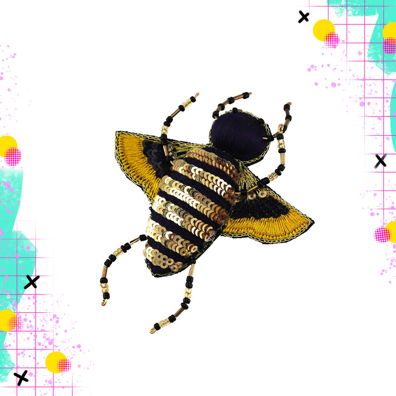 Tiger Tree sequin bee brooch