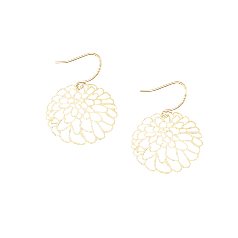 Tiger Tree flower dangles | cutout gold