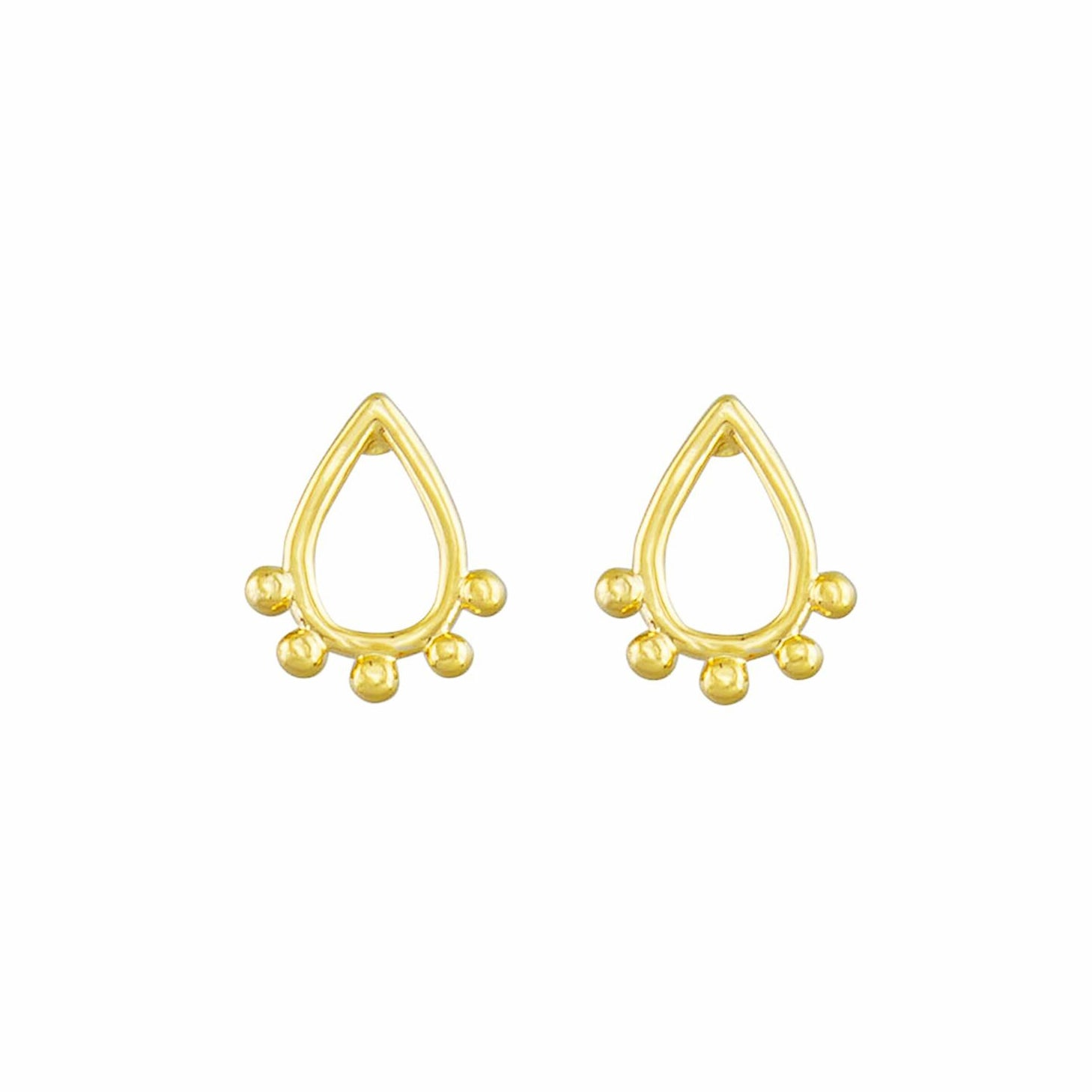 Tiger Tree teardrop studs | gold