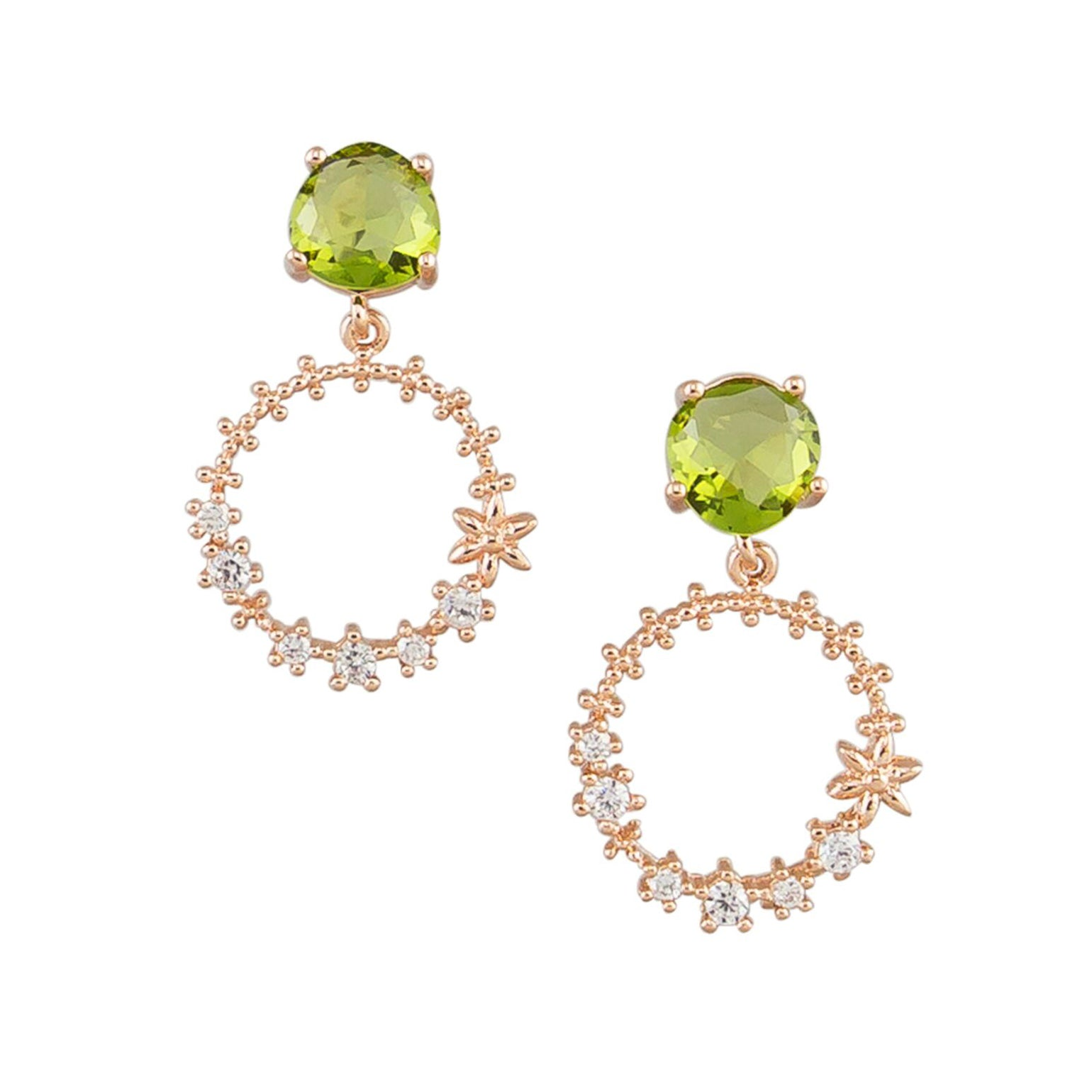 Tiger Tree crystal hoop drops | green clear
