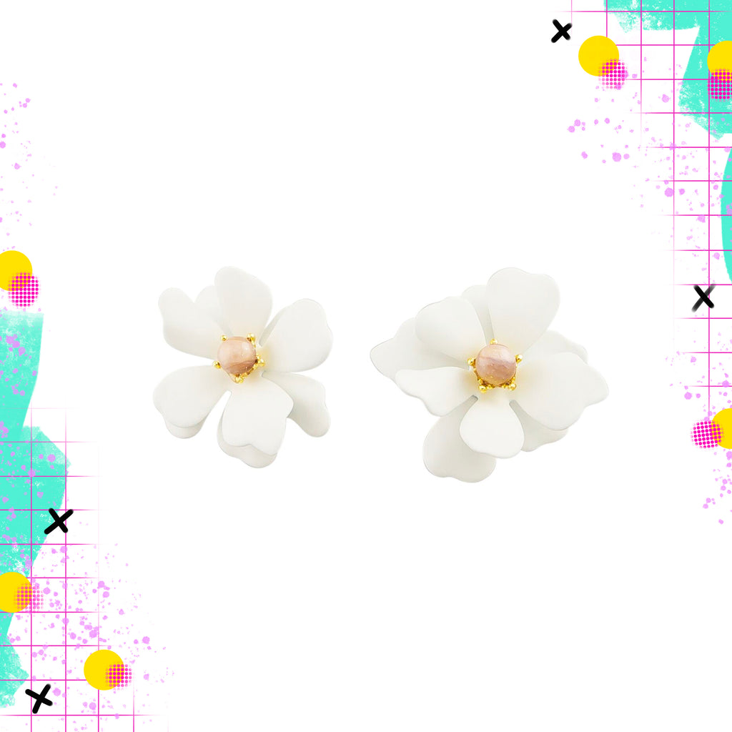 Tiger Tree large white flower studs