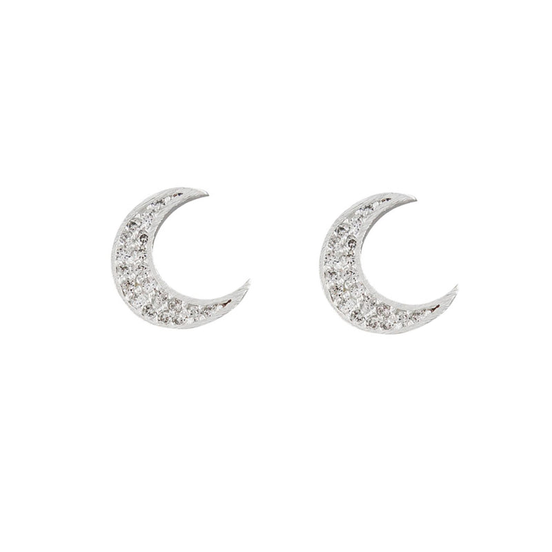 Tiger Tree moon studs | silver/diamanté's