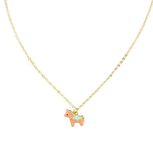 Tiger Tree horse necklace | pink enamel/gold