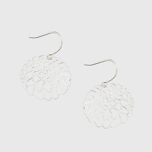Tiger Tree flower dangles | cutout silver