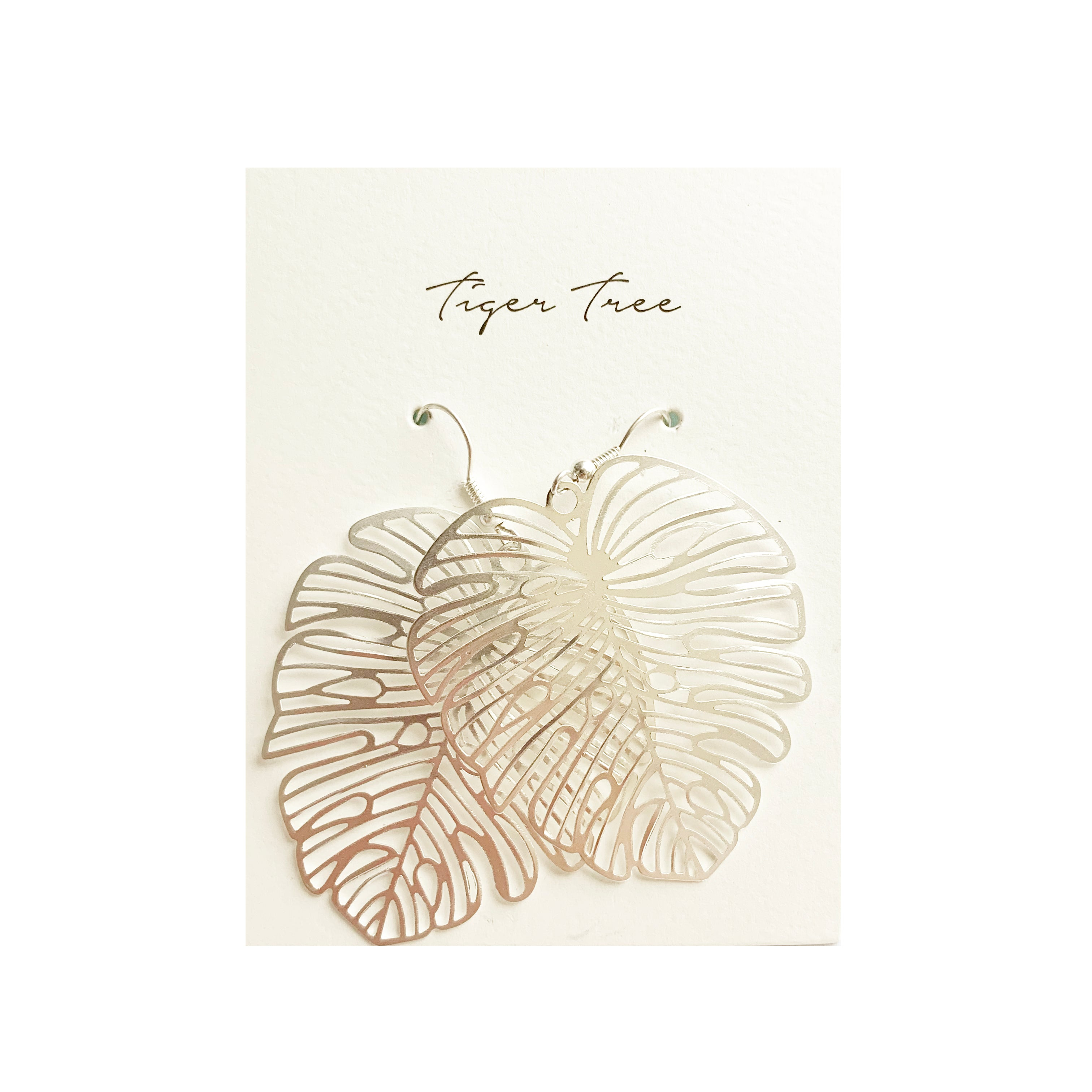 Tiger Tree large monsterra leaf dangles | silver