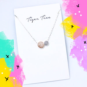 Tiger Tree brushed metal duo round necklace