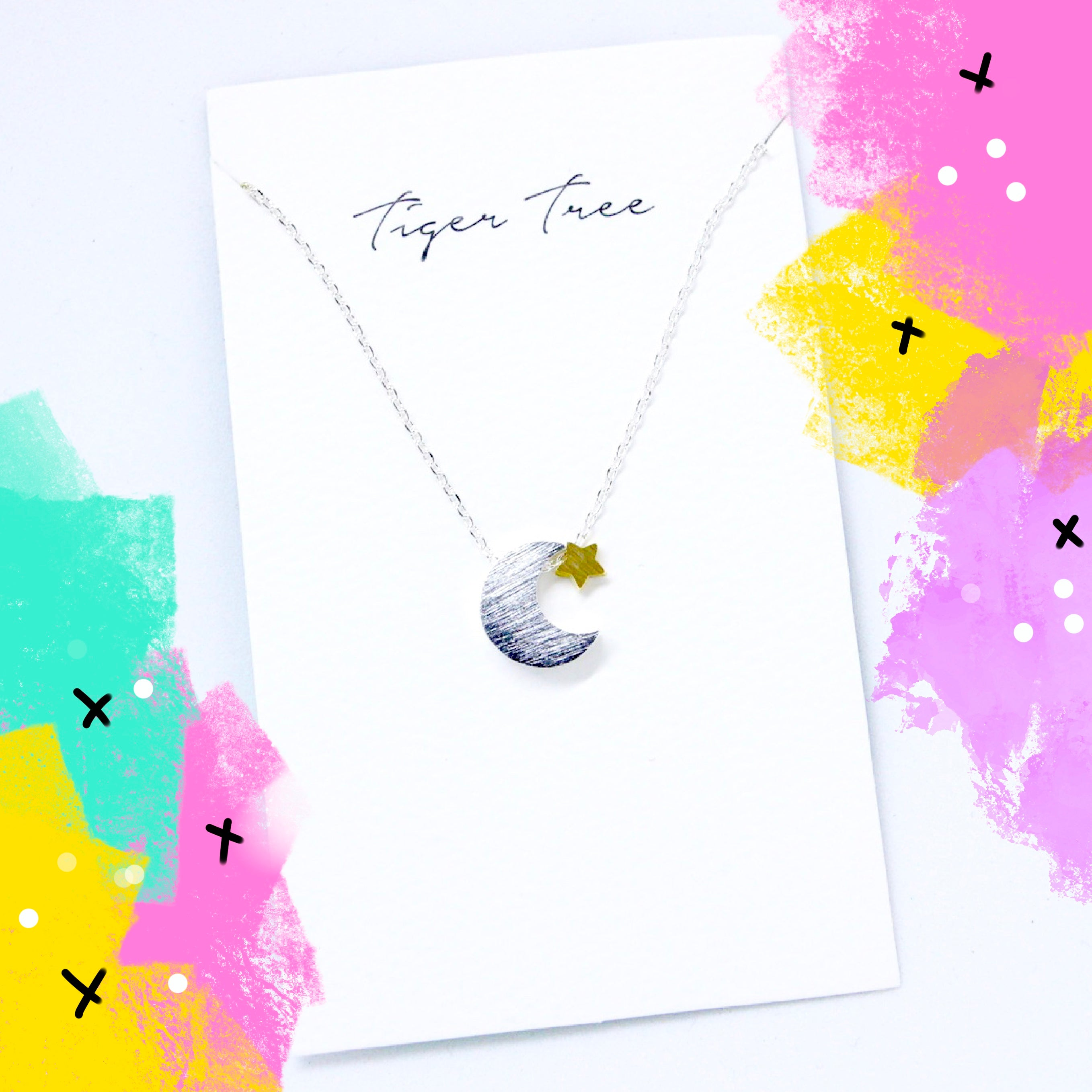 Tiger Tree brushed metal moon and star duo necklace
