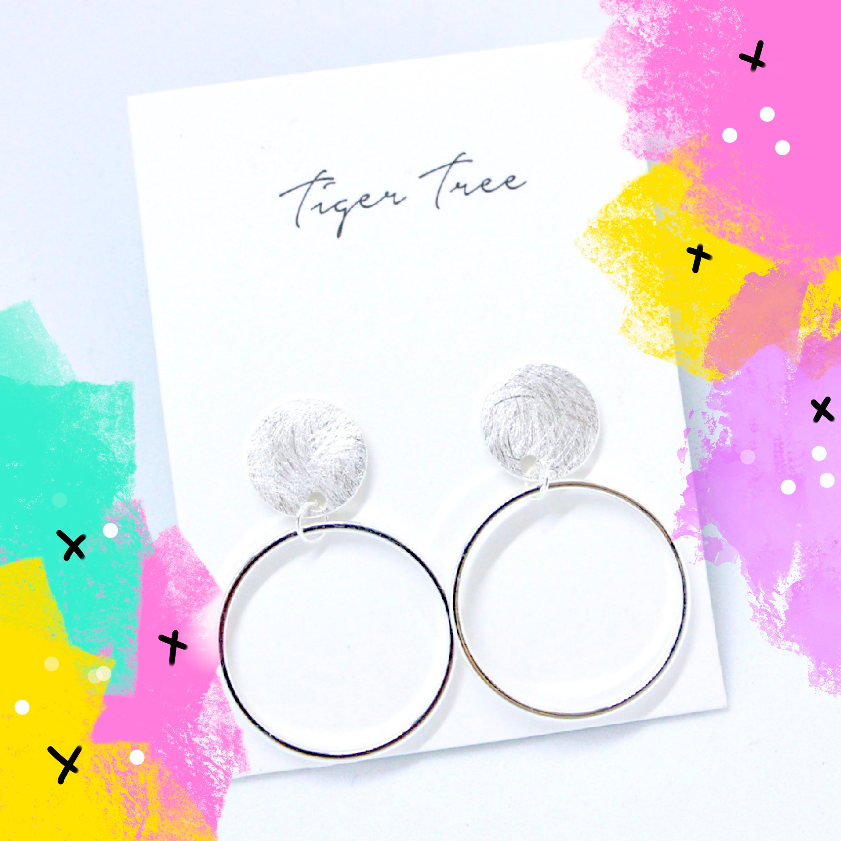 Tiger Tree brushed metal stud hoops - Silver
