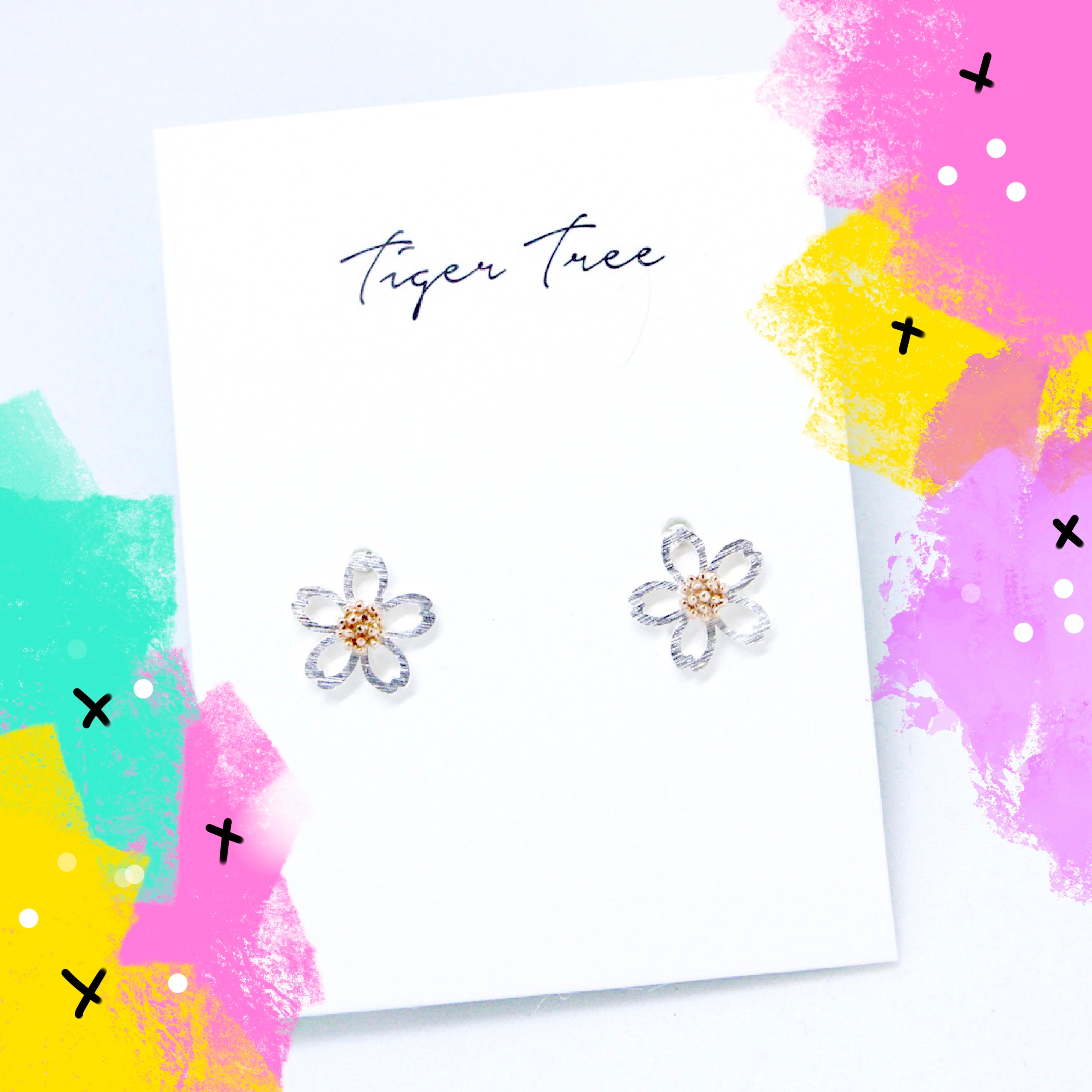 Tiger Tree two-tone daisy - silver