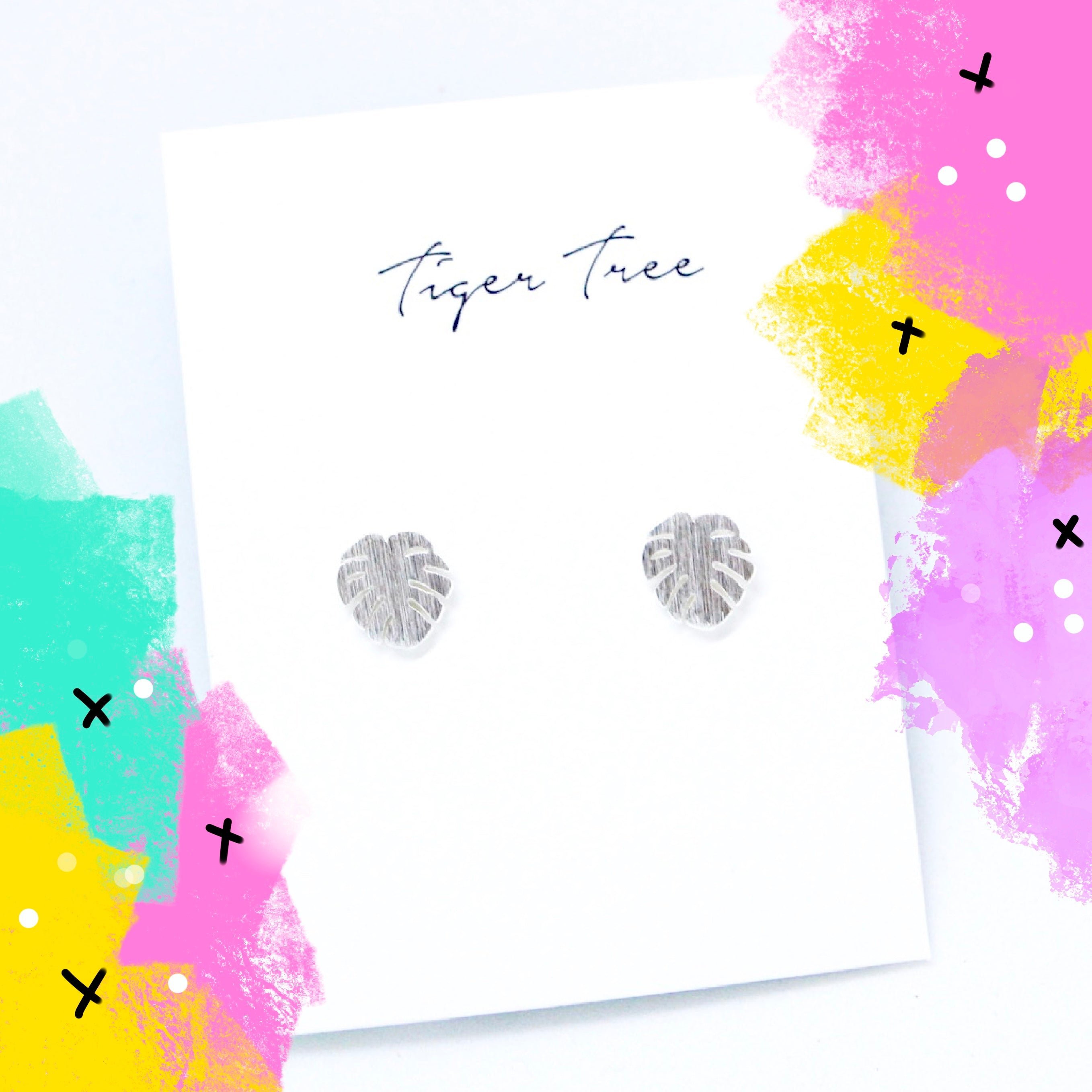 Tiger Tree brushed metal monstera leaf studs - silver
