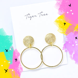 Tiger Tree brushed metal stud hoops - gold