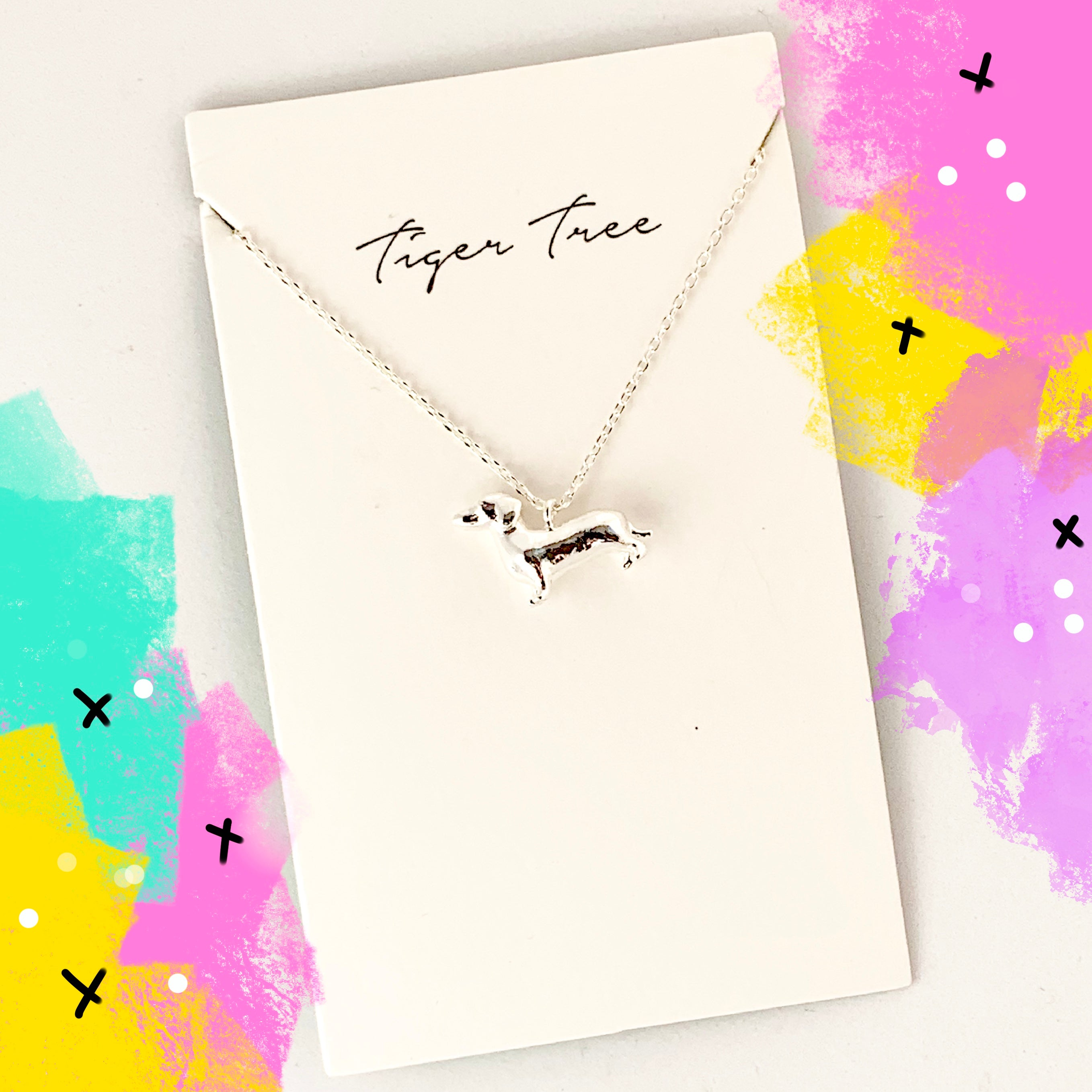 Tiger Tree dainty dachshund necklace