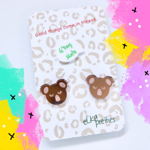 Elka G'day mate mirrored koala studs  - rose gold