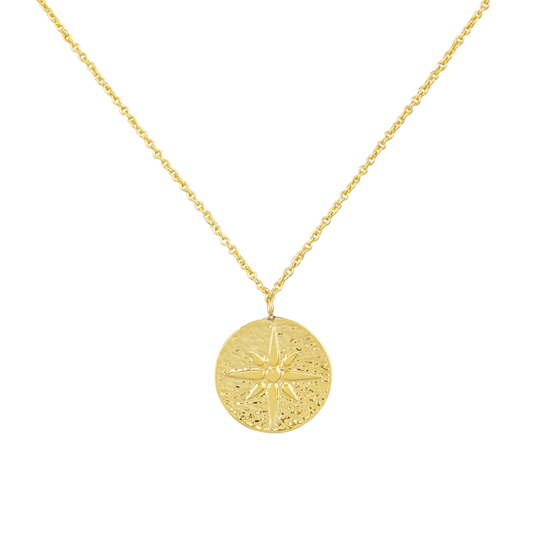 Tiger Tree pendant necklace | gold compass