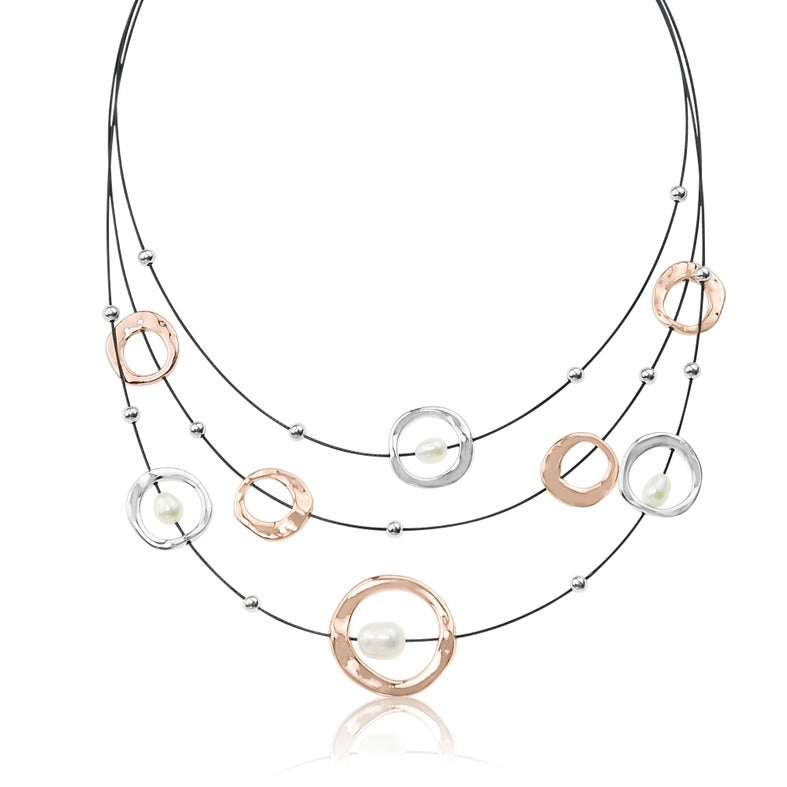 TID metal open circles with freshwater pearl necklace