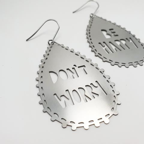 DENZ Don't Worry Be Happy Dangles | Silver