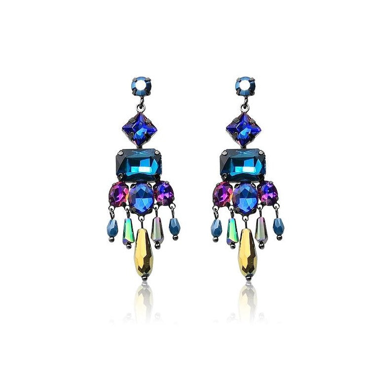 TID multi peacock crystal earrings