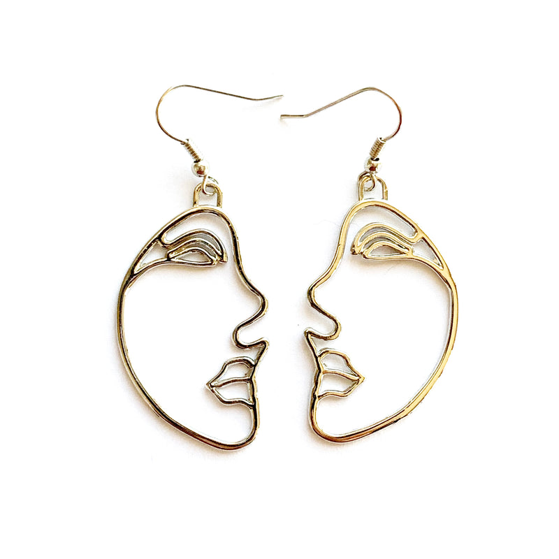 Abstract Face Earrings | Silver