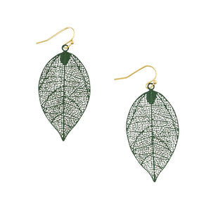 Tiger Tree moss green leaf drop earrings
