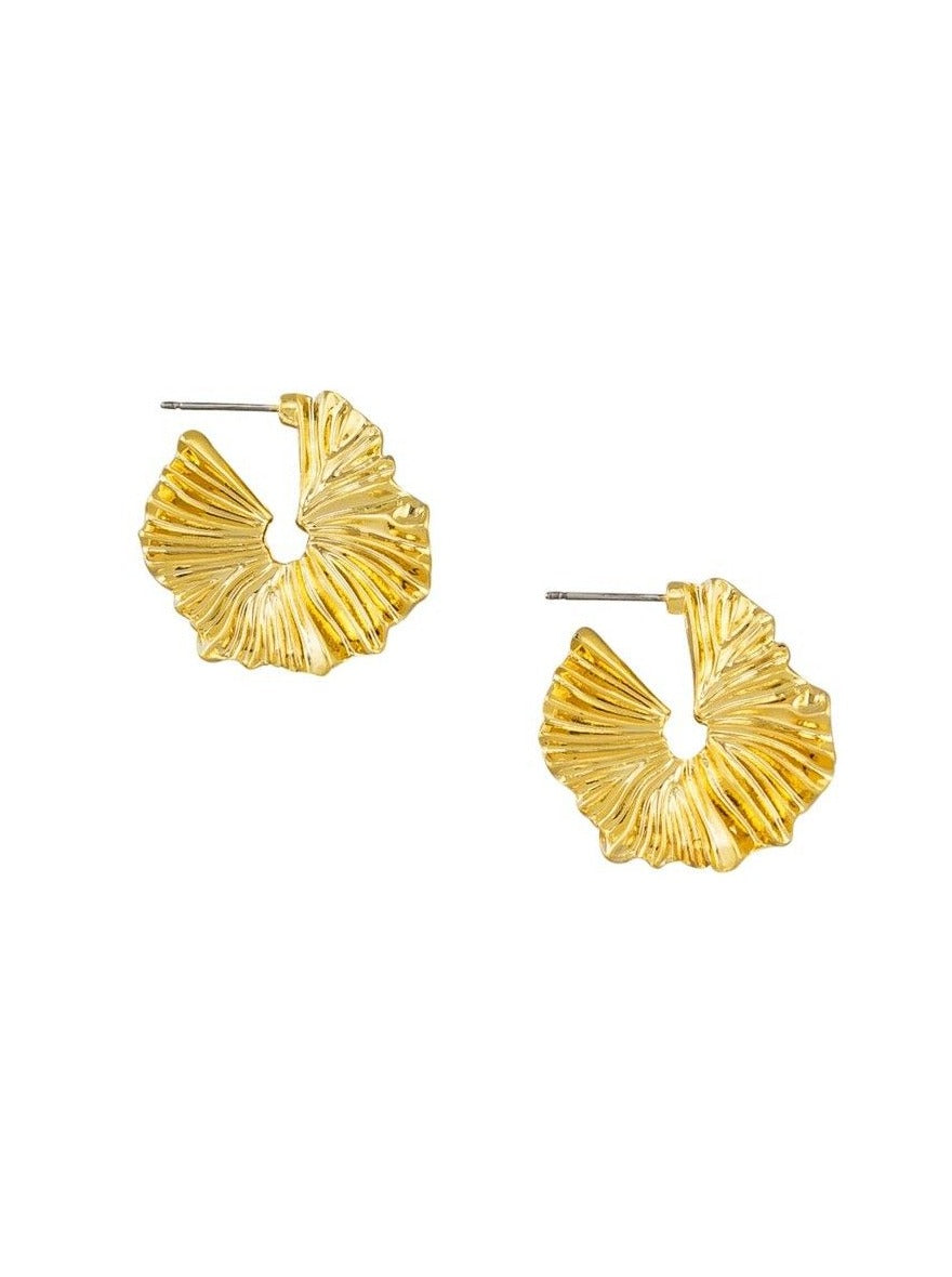 Tiger Tree Gold Frill Hoop Earrings