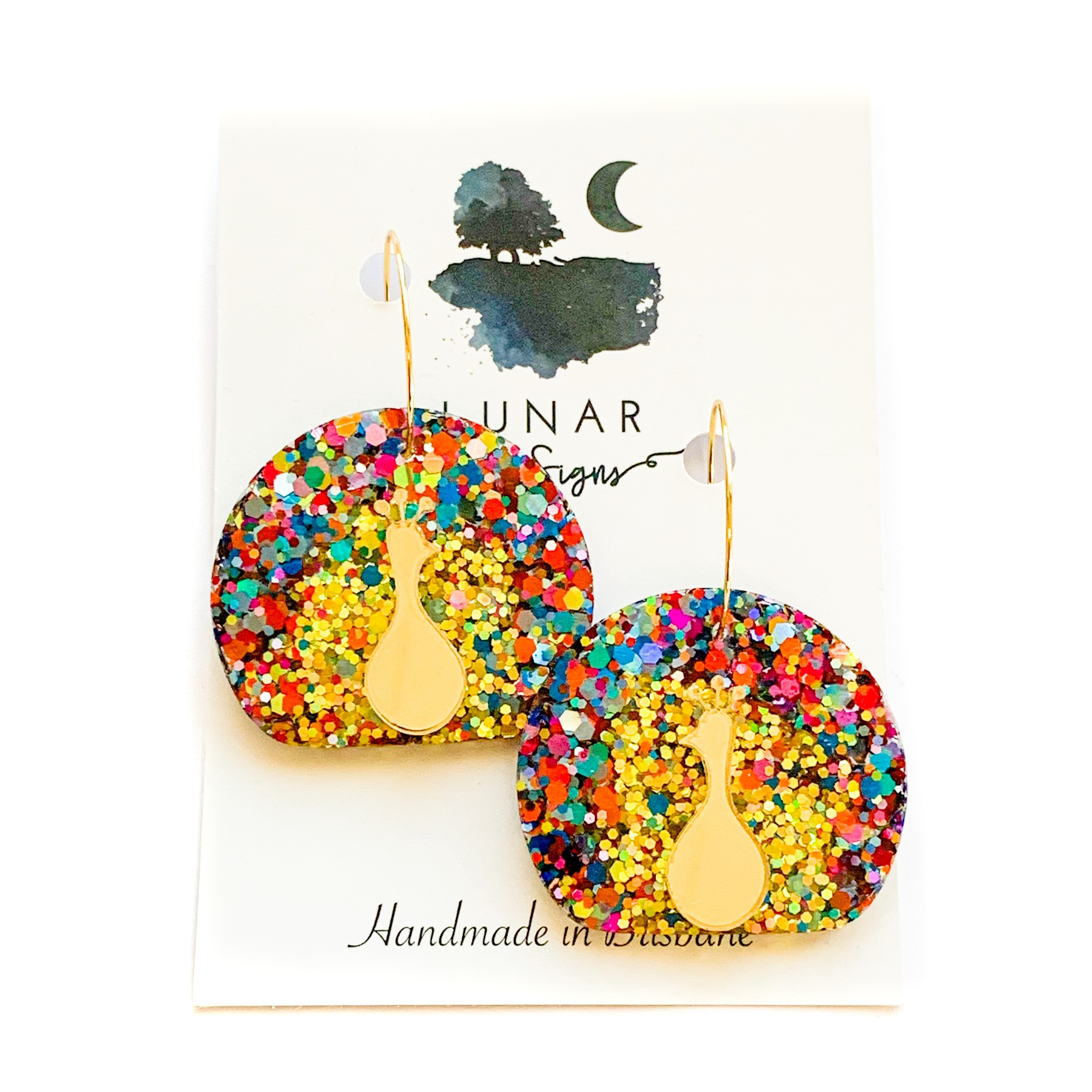 Lunar glitter studs | Peacock | Multi colour