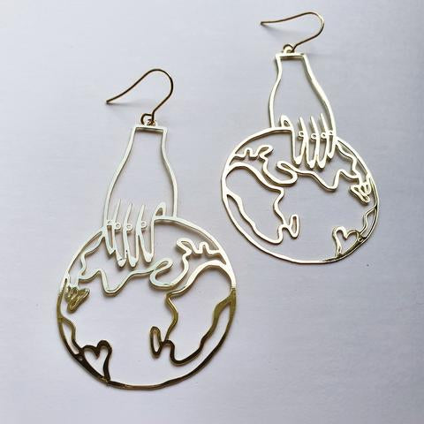 DENZ World In Your Hands Dangles | Gold
