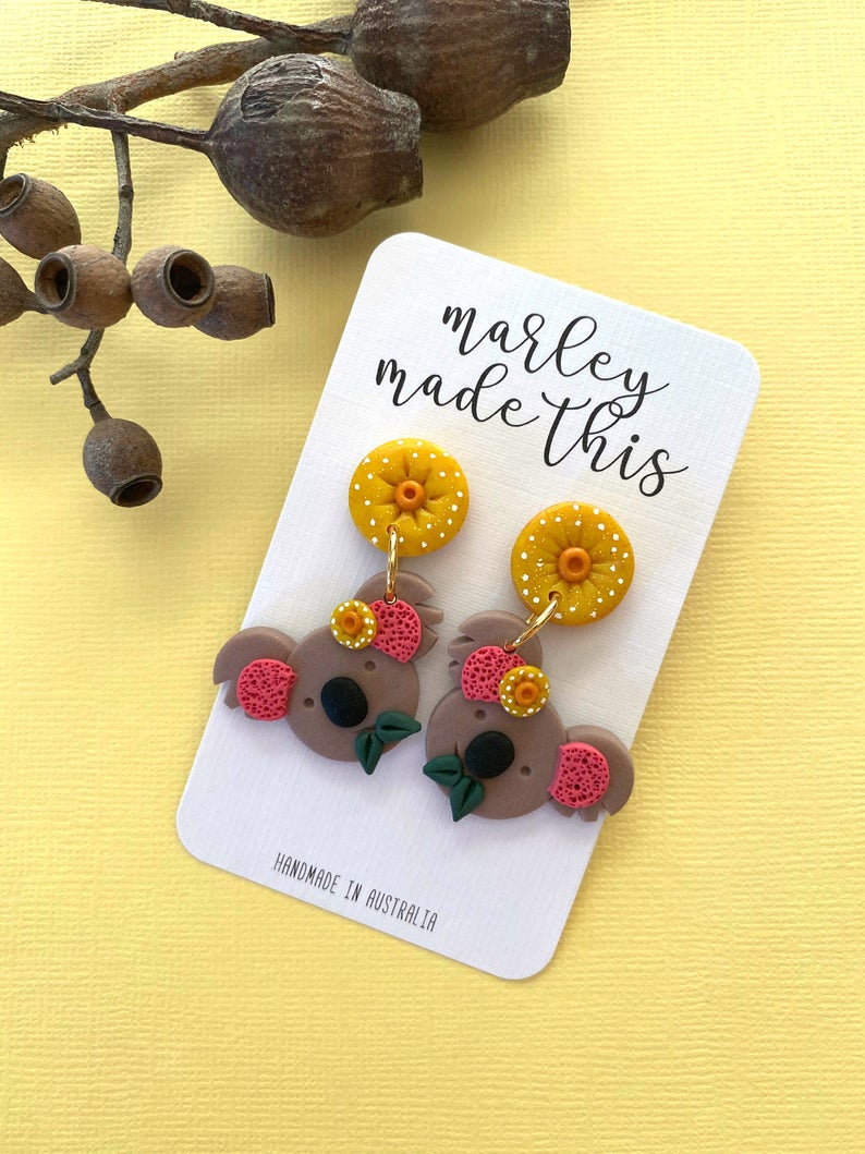 Marley Made This | Koala and Yellow Gum Blossom statement dangles