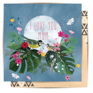 La La Land Greeting Card Tropical Birds I Love You Mum