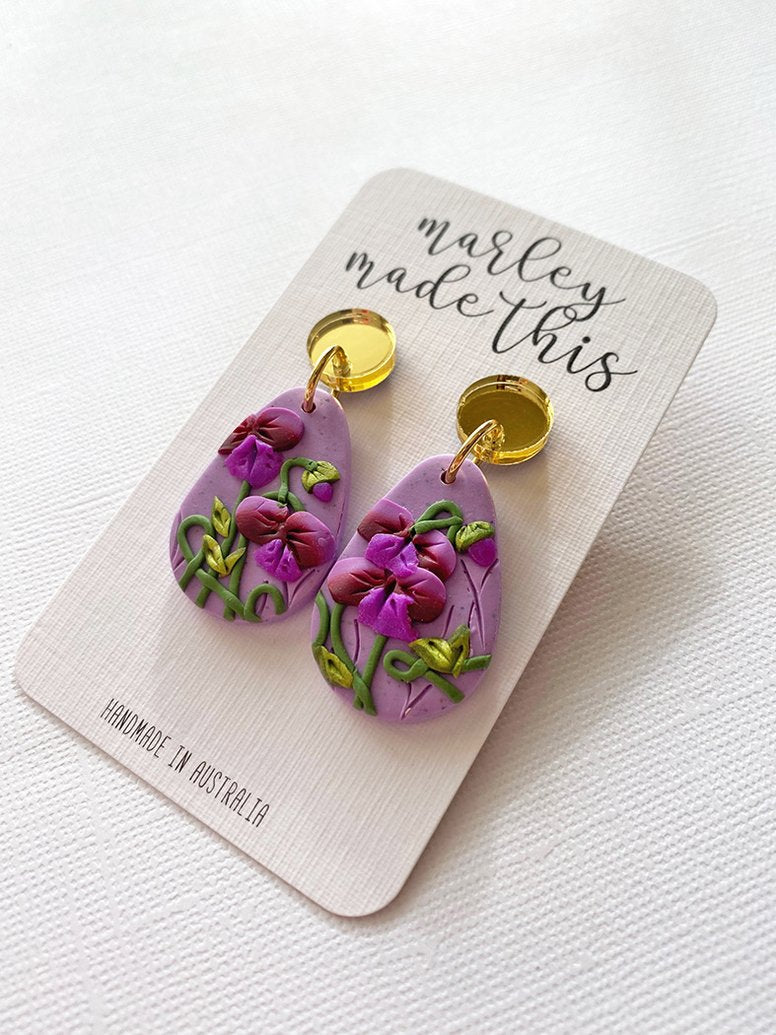Marley Made This | Purple sweet pea statement dangles