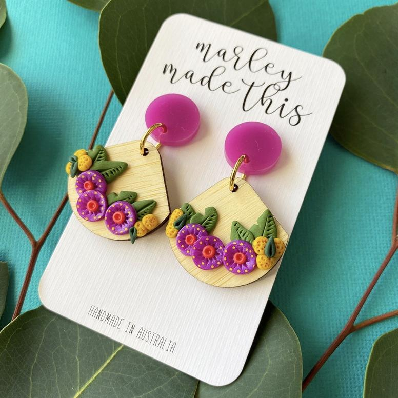 Marley Made This | Purple gum blossom statement fan dangles