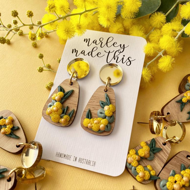 Marley Made This | Yellow Wattle statement dangles with gold mirrored tops