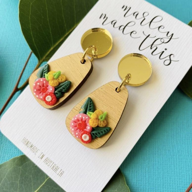 Marley Made This | Red gum blossom statement dangles