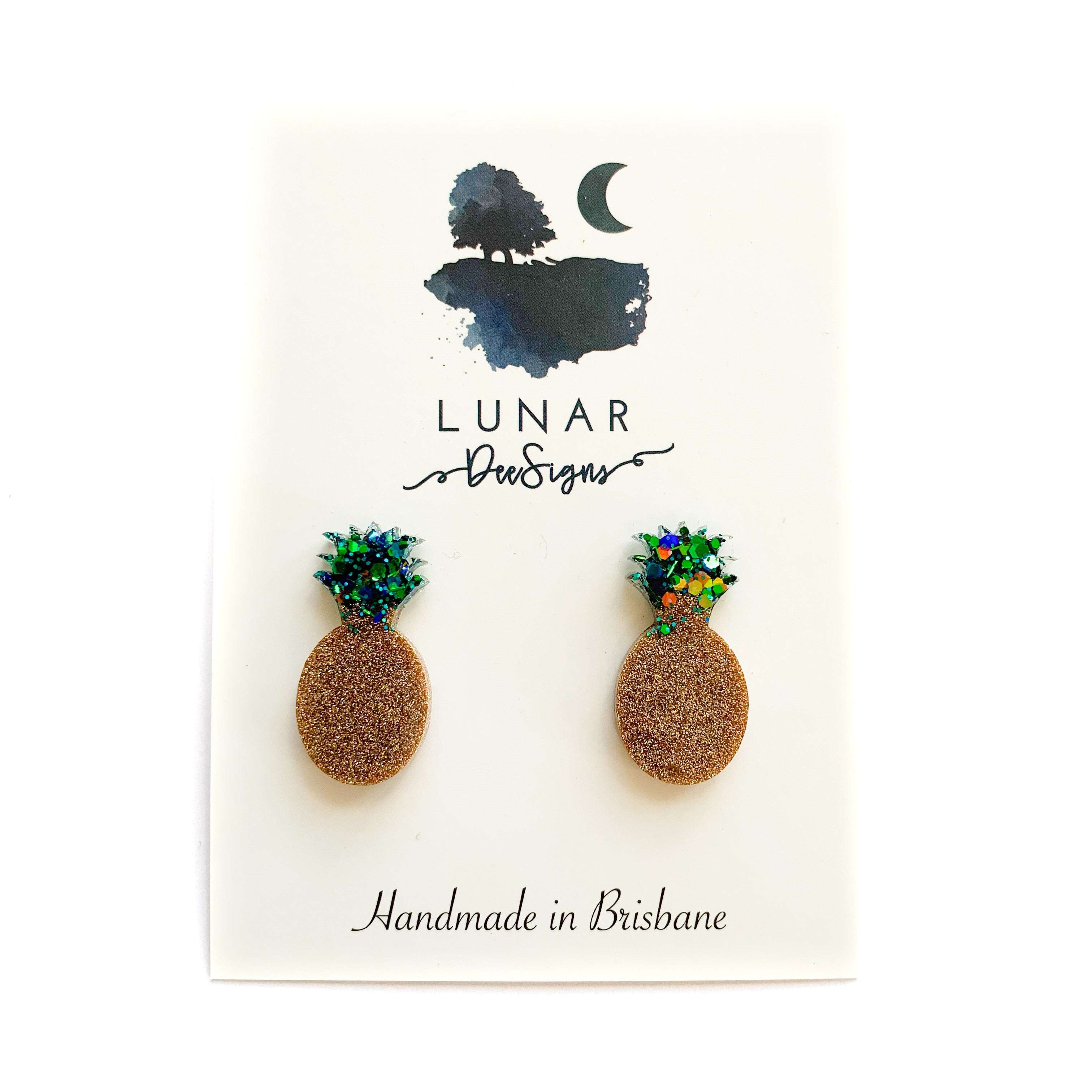 Lunar glitter pineapples | gold & blue studs