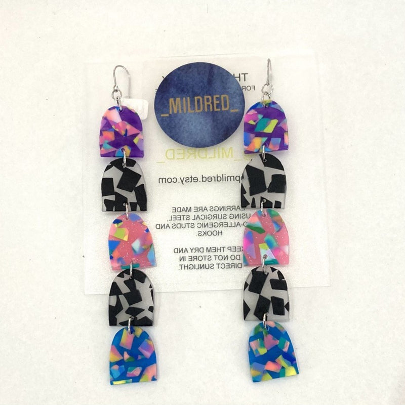 Mildred 'TERRAZZO' Dangles | Pink, Blue and Purple Confetti