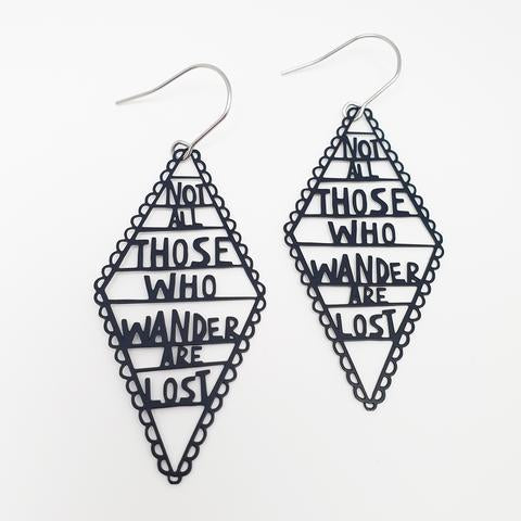 DENZ  Not All Those Who Wander Are Lost dangles | Black