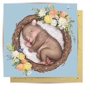 Mini Greeting Card | Nested Baby Wombat